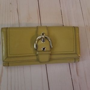 Coach green buckle leather long wallet